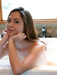 Luscious fledgling babe Cassie Laine gets nude and takes hot bathtub