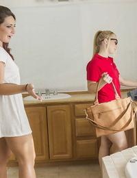 Sleek big sack of babymakers lesbian babes AJ and Sabannah having a vagina munching time