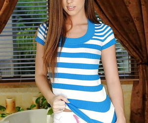 Svelte teenage babe with petite ass Maddy Oreilly disrobing off her clothes