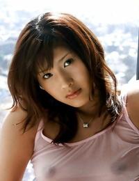 Pretty asian honey Sara Tsukigami taking bathtub in her sheer lingerie