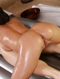 Good-looking Asian nymph Kortney Kane gets her lips jizzed sweetly