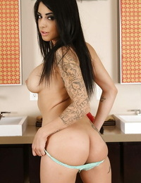 Tattooed latina knockout gets rid of her silk gown and undergarments