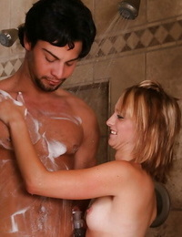 Obscene masseuse has soapy joy with her clients shaft and milks it on her face