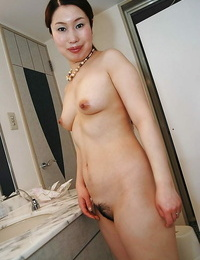 Naughty asian Mummy with giant ass Ayako Sakuma taking shower and bath