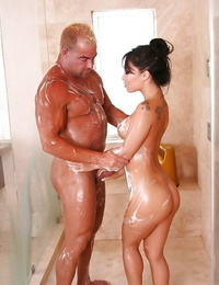 Warm asian woman gives a soapy massage ending up with a blowjob in jacuzzi