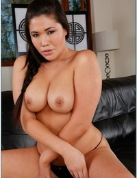 Asian wifey london Keyes denudes round hooters and spreads scorching beaver