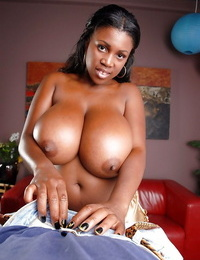Busty ebony slut Maseratti plays with white shaft in exclusive oral scenes