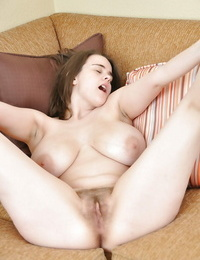Fatty honey with fat hooters and hairy g-spot unclothing and posing naked