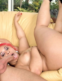 Redhead BBBW Pinky gets spit roasted by 2 army buddies in officers lounge