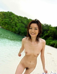 Svelte asian hottie with clean ass Ray Ito slipping off her crimson swimsuit