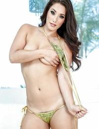 Curvaceous Asian adult movie star Eva Lovia gliding off bikini to model in the nude