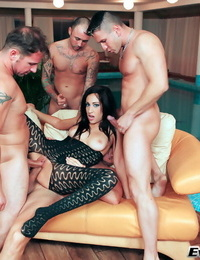 Jolly brunette Eloa Lombard big-chested several dicks and getting cum shots