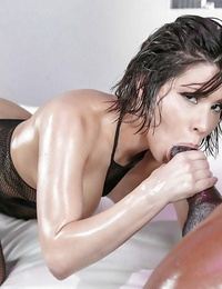 Latina chick Aleksa Nicole having oiled ass torn up by Big black cock in mesh hose