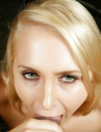 Ash-blonde woman Alix Lynx holds cock deep down the gullet or a complete POV