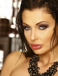 European brunette Aletta Ocean reveals her thick tits in undergarments