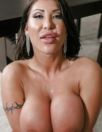 Big-titted Asian wifey August Taylor taking jism on face after screwing large shaft