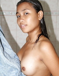 Magnificent long haired asian babe demonstrating off her tiny boobs and warm ass