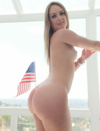 Solo chick Daisy Stone takes off off USA themed clothes on July 4th festivity