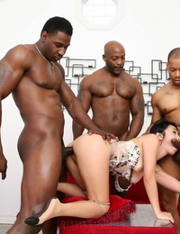 Spills Asian fuckslut Marica Hase enjoying an interracial gang-fuck