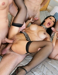 Asian pornstar Tia Ling gets triple nailed in black nylons and heels