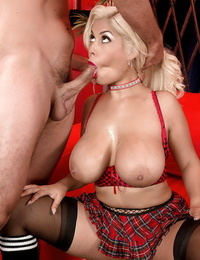 Top dick huge-boobed until fully jizzed on face and hooters with blonde Bridgette B