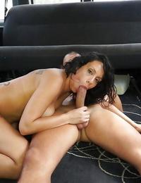 Impressive oral pleasure done by a tattooed black-haired Marta Sanz in a car