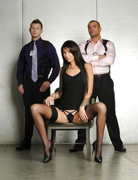 Latina in underwear Esmi Lee gets boned by 2 tall guys with badges and guns