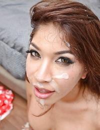 Asian inexperienced Gemma Jolie slobbering spunk from gullet after butt cheeks on knees