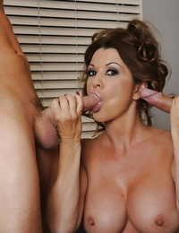 Indecent Mummy with big round knockers has some fun with 2 rock hard peckers