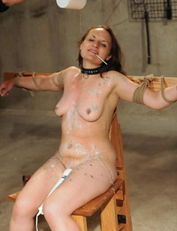 Collared hookup slave Nora groans out out as shes whipped and masturbated