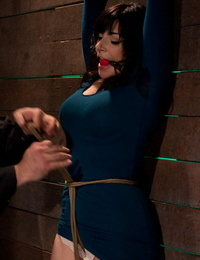 Big-tittied lady in tight sundress was tied up and punished in basement
