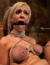 Blonde lady with braces Kaylee Hilton screams out during forced getting off