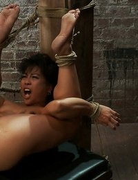Bound up MILF Max Mikita gets tormented and fucked by a Hitachi sex toy