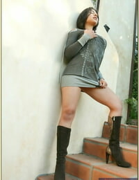 Gorgeous latina in boots Sophia Layne disrobing bare outdoor
