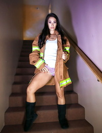 Top Asian porn industry star Eva Lovia flashing in firemans coat and boots