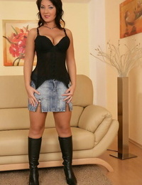 Chesty hottie in boots Chantal Ferrera takes off off her stellar lingerie