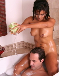 Tongues Asian dark-haired Lana Violet is lulling big- tasty prick