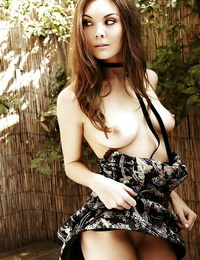 Sweet babe Jessica Gamboa uncovering her graceful kinks outdoor