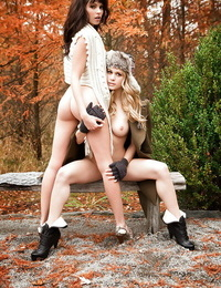 Pretty babe Bethanie Badertscher posing scarcely clad with her buddy