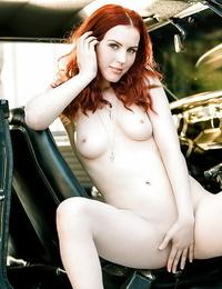 Pretty redhead babe Haydn Porter sliding off her undergarments