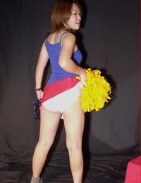 Inexperienced Japanese cheerleader Naoko loosing nude sack of babymakers from undies and micro-skirt