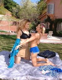 Zeal inked teen has some lezzie joy with her mature friend outdoor