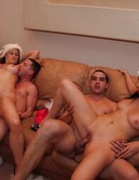 Bosomy sluts string up FFM groupsex at the christmas mansion soiree