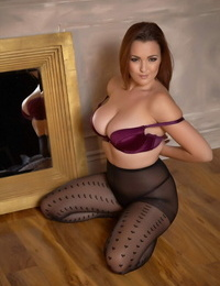 Busty chick Jodie Gasson takes off her sundress and polka dot pantyhose