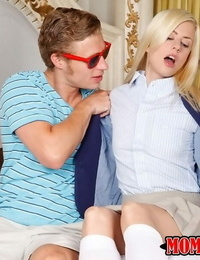 Blonde in a brief miniskirt gets seduced and banged by man with a fat dick