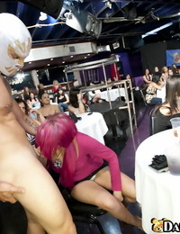 Crazy soiree with bare strippers and dressed Asian girls doing oral jobs