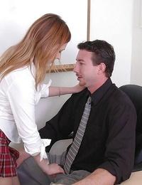 Clad schoolgirl teenager Katrina giving a deep butt cheeks in office