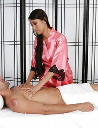 Hypnotizing Asian masseuse Sharon Lee making her friend sated