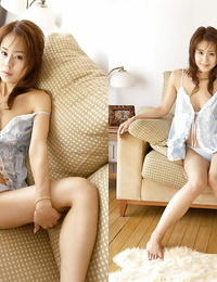 Sexy asian coed Takane Hirayama showing her big bosoms and fur covered pussy