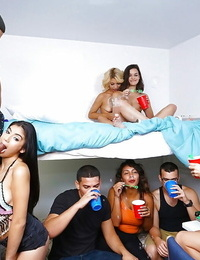 Latina coed Michelle Martinez and toasted perv friends engage in lovemaking soiree games